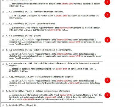 Elenco dei documenti trovati a seguito della ricerca.